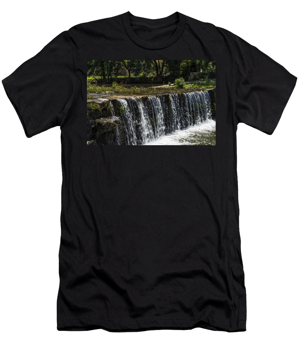 Waterfall Men's T-Shirt (Athletic Fit) featuring the photograph Waterfall by Paulo Goncalves