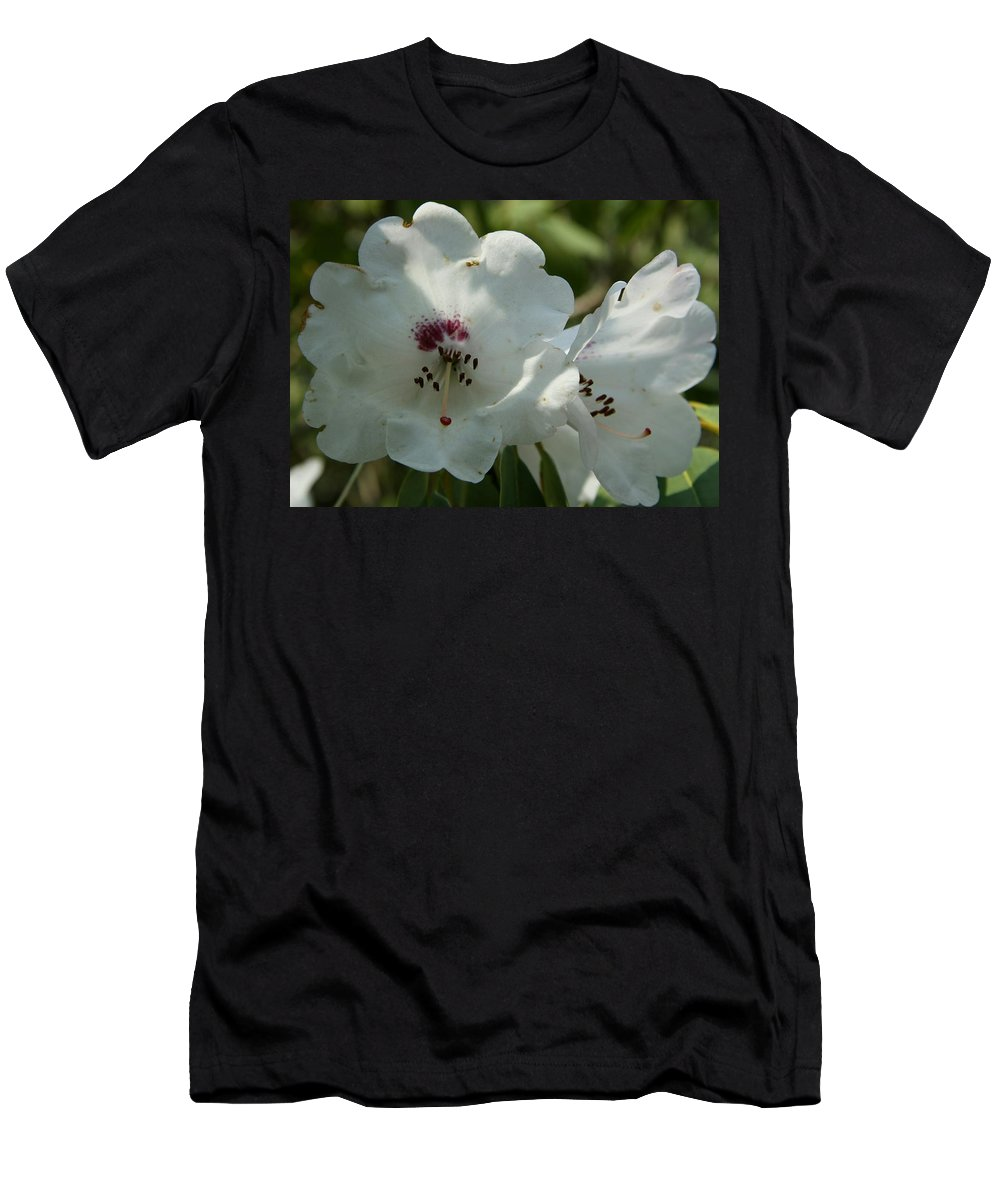 Rhododendron Men's T-Shirt (Athletic Fit) featuring the photograph White Rhododendron Blossom by Christiane Schulze Art And Photography