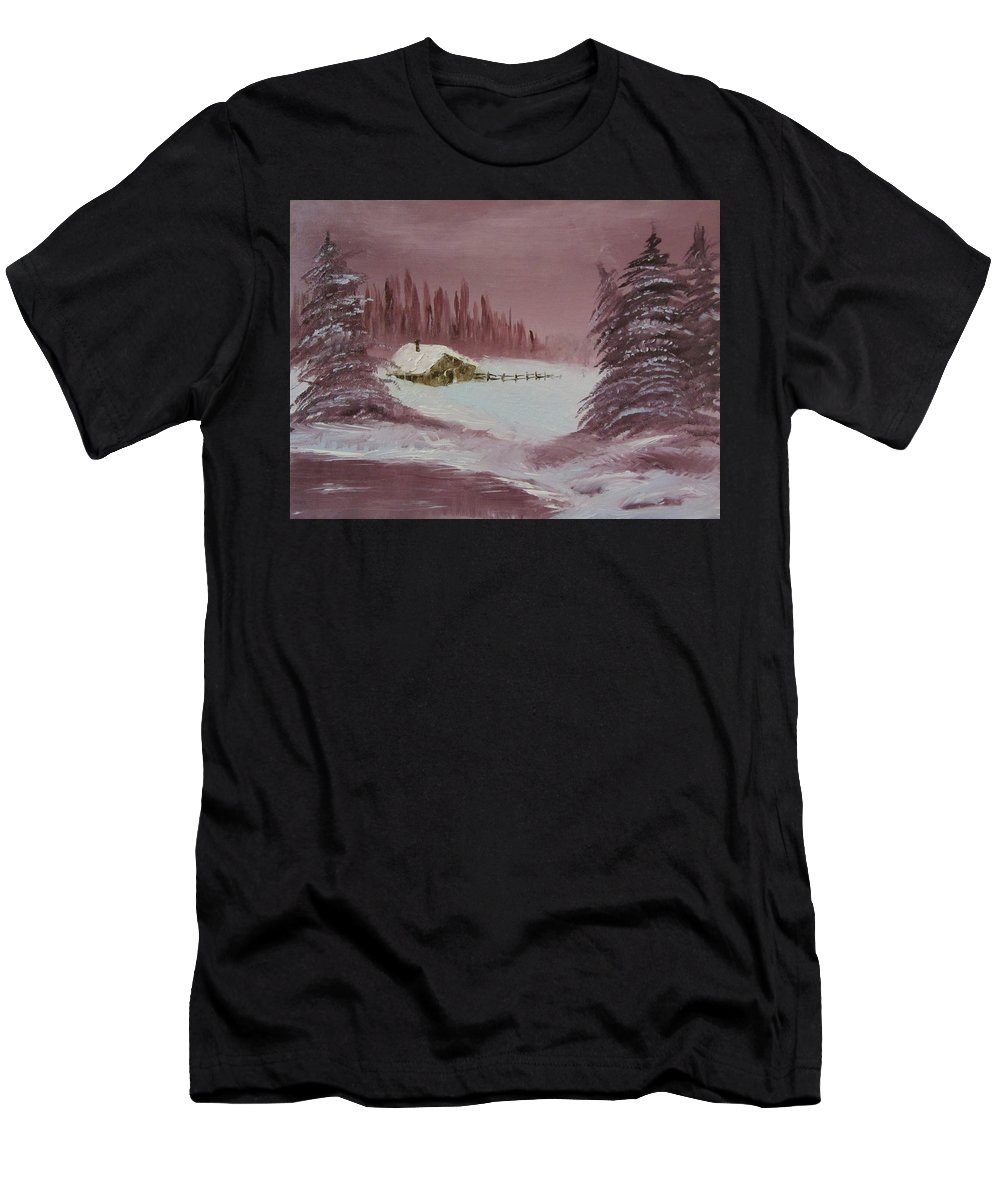 Winter Men's T-Shirt (Athletic Fit) featuring the painting Whose Woods by Gavin Kutil