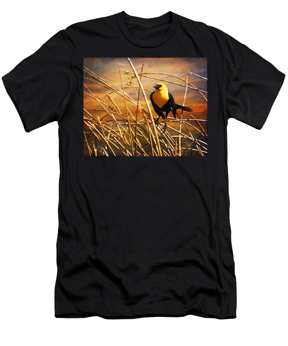 Yellow Men's T-Shirt (Athletic Fit) featuring the photograph Yellow - Headed Blackbird by Theresa Tahara