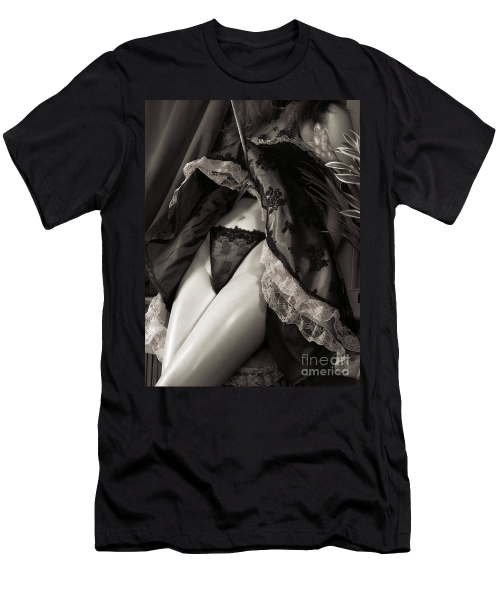 Bondage Men's T-Shirt (Athletic Fit) featuring the photograph Young Woman With Rope Bondage Standing At A Window by Oleksiy Maksymenko
