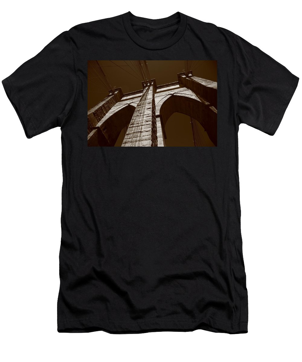 America Men's T-Shirt (Athletic Fit) featuring the photograph Brooklyn Bridge - New York City by Frank Romeo