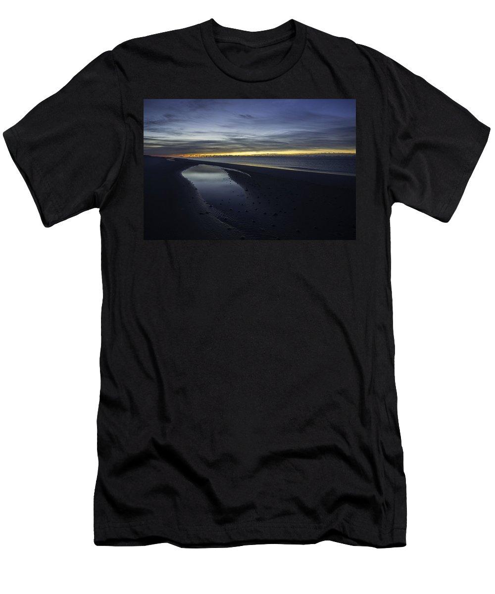 Palm Men's T-Shirt (Athletic Fit) featuring the digital art 20 Degree Beach Sunrise by Michael Thomas