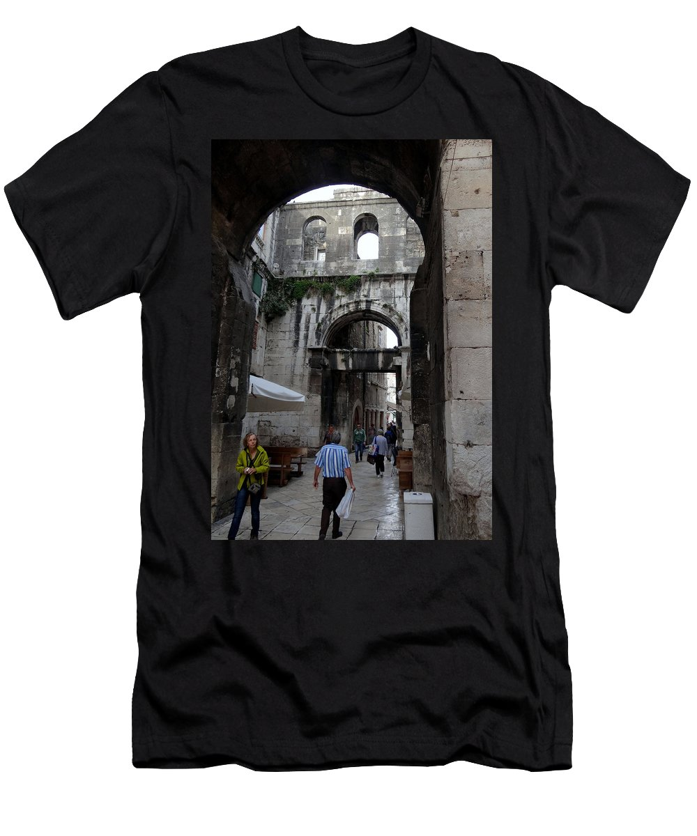 Split Croatia Men's T-Shirt (Athletic Fit) featuring the photograph Views Of Split Croatia by Richard Rosenshein