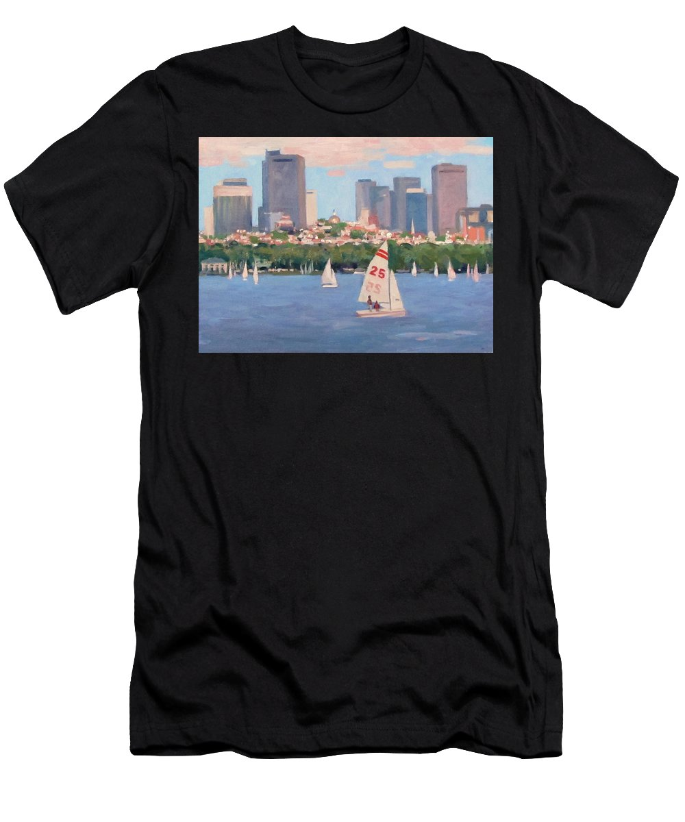 Sailboat Men's T-Shirt (Athletic Fit) featuring the painting 25 On The Charles by Dianne Panarelli Miller