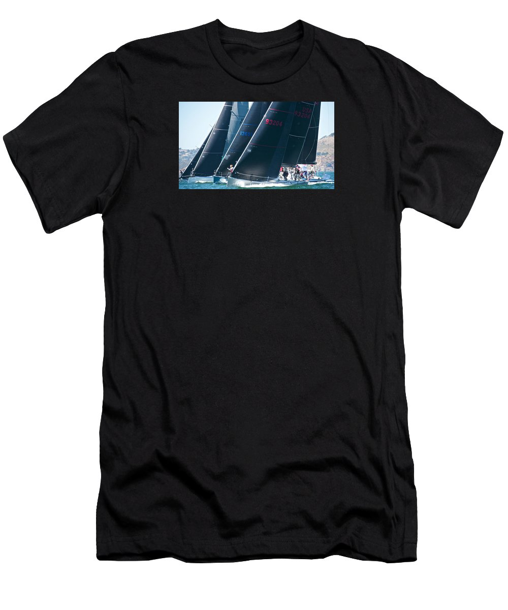 Golden Gate Men's T-Shirt (Athletic Fit) featuring the photograph San Francisco Regatta by Steven Lapkin