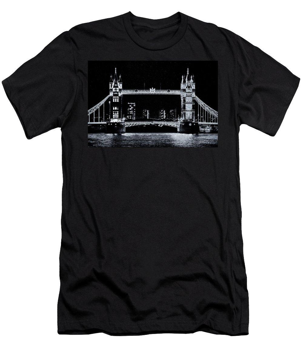 Tower Bridge Men's T-Shirt (Athletic Fit) featuring the digital art Tower Bridge Art by David Pyatt