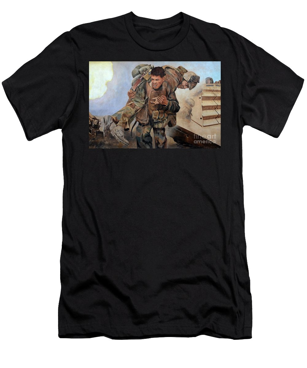 Mural Men's T-Shirt (Athletic Fit) featuring the photograph 29 Palms Mural 3 by Bob Christopher