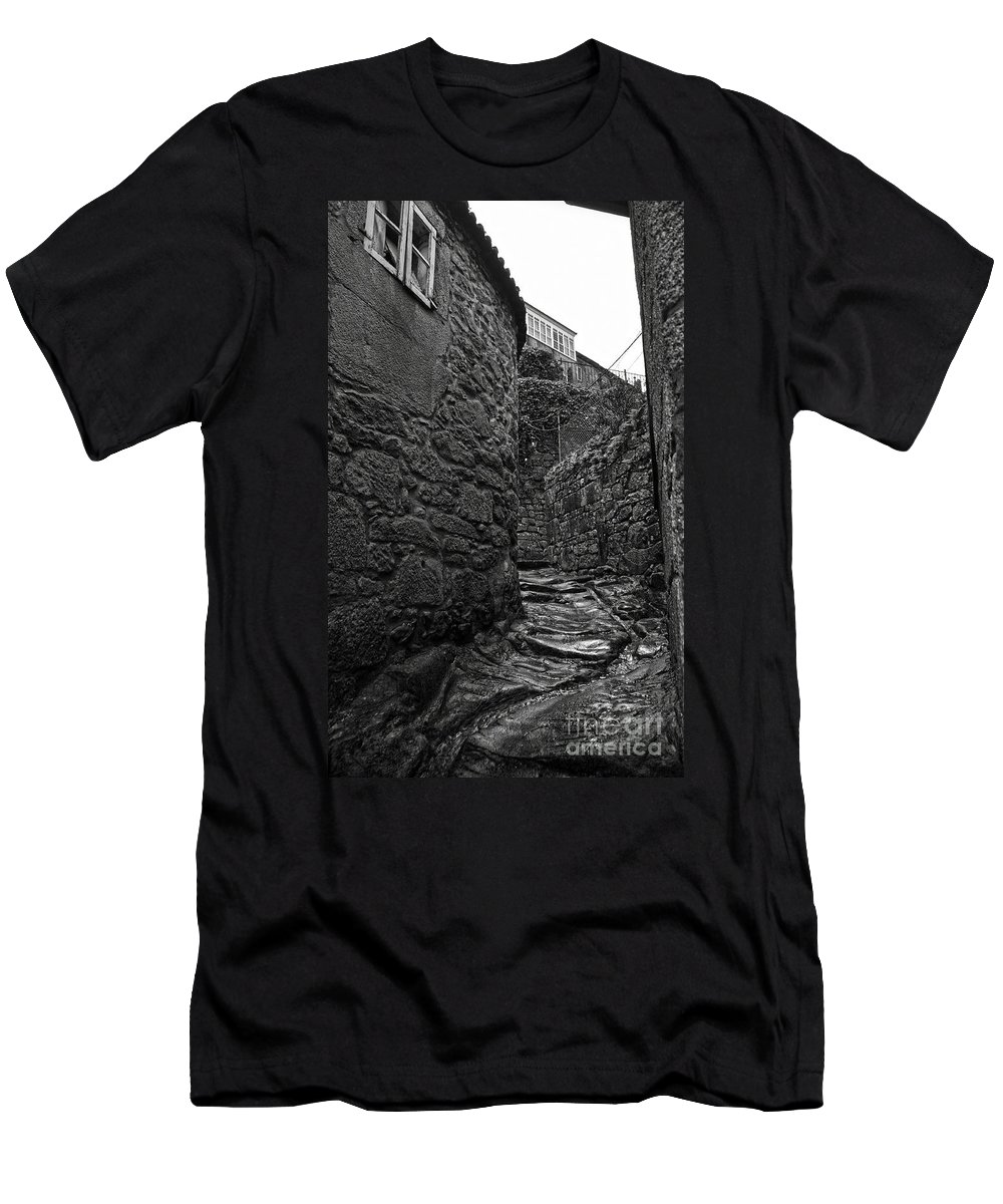 Ancient Men's T-Shirt (Athletic Fit) featuring the photograph Ancient Street In Tui Bw by RicardMN Photography