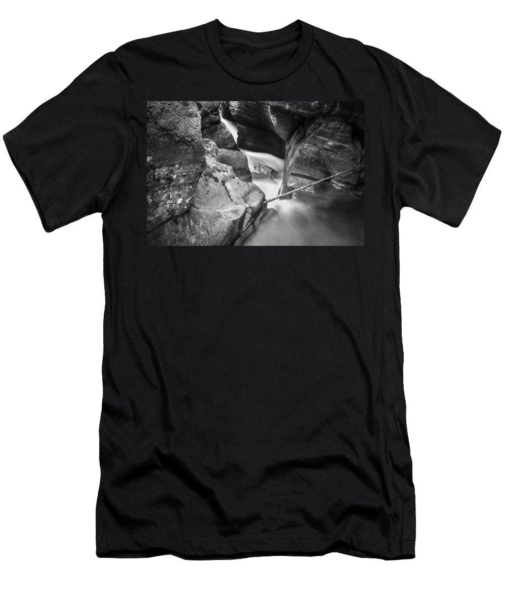 Glacier National Park Men's T-Shirt (Athletic Fit) featuring the photograph Avalanche Gorge Glacier National Park Bw by Rich Franco