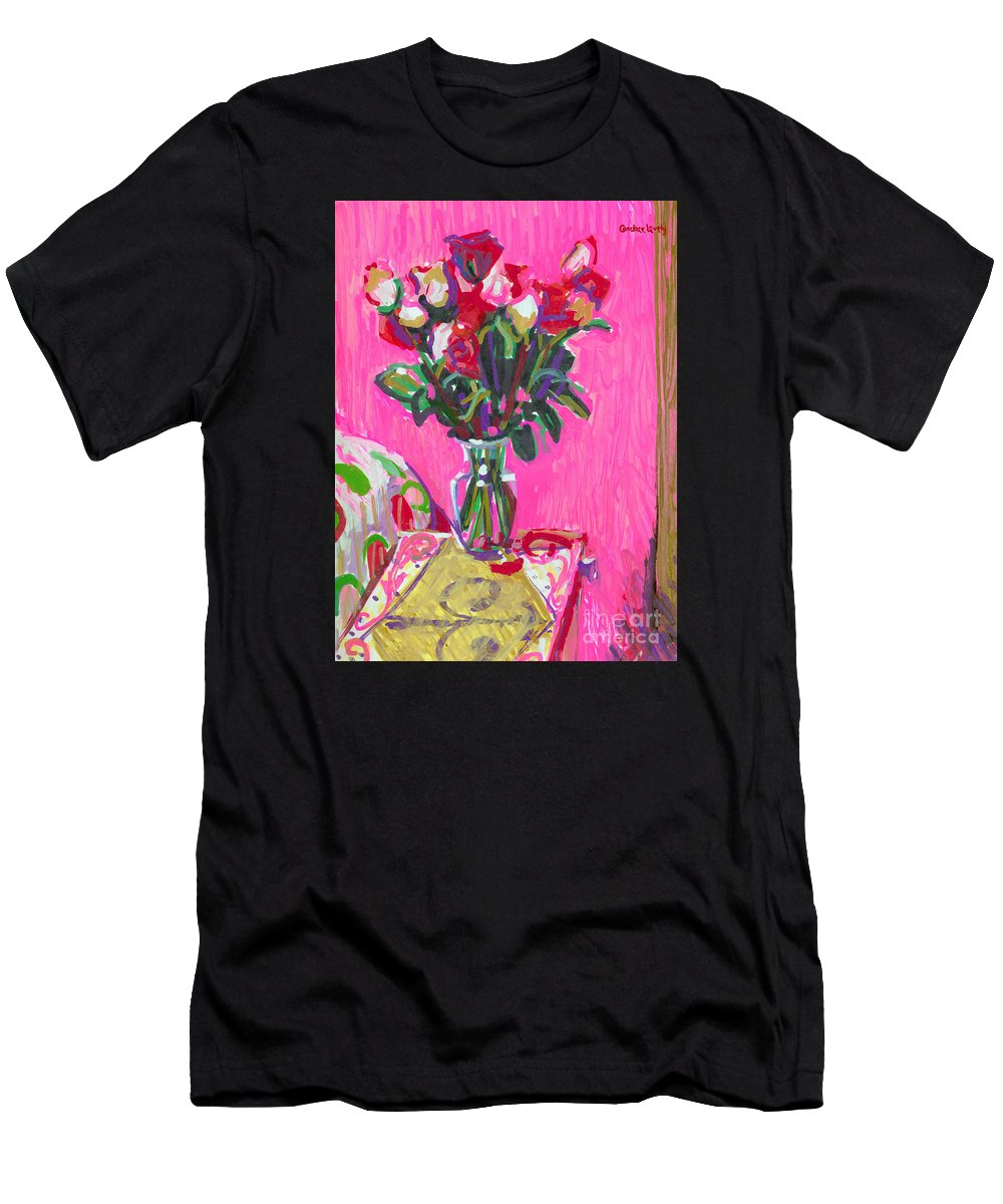 Roses On Pink Men's T-Shirt (Athletic Fit) featuring the painting Blakes' Roses by Candace Lovely