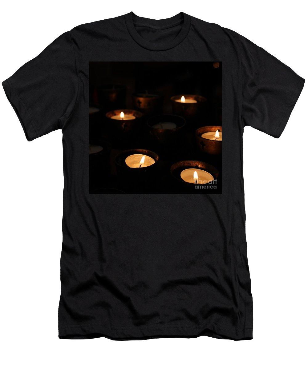 Church Men's T-Shirt (Athletic Fit) featuring the photograph Church Candles by Henrik Lehnerer