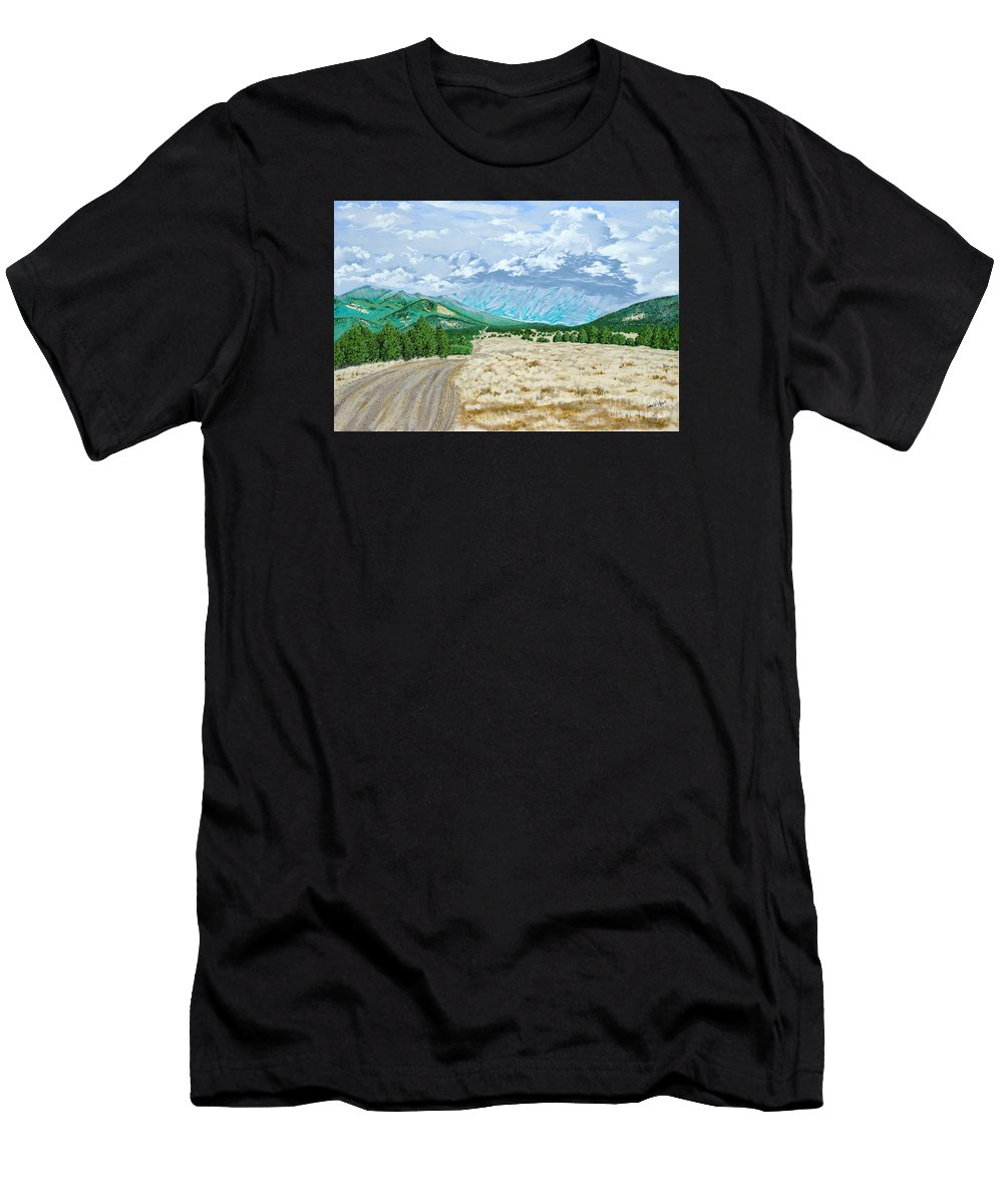 Dirt Road Men's T-Shirt (Athletic Fit) featuring the painting Country Road by John Wilson