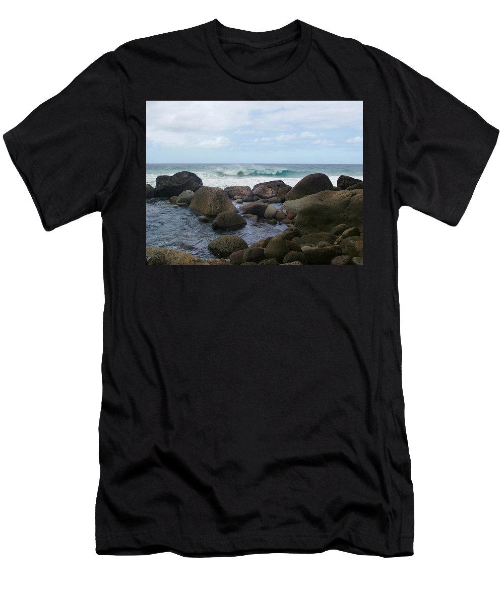Hanakapi Ai Beach Men's T-Shirt (Athletic Fit) featuring the photograph Hanakapi Ai Beach by Ellen Henneke