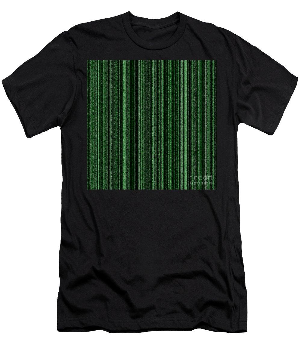Green Men's T-Shirt (Athletic Fit) featuring the digital art Matrix Green by Henrik Lehnerer
