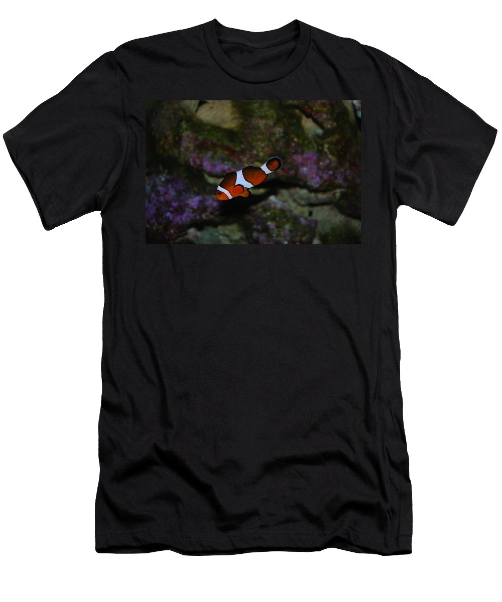 Taken Through Side Of Aquarium Men's T-Shirt (Athletic Fit) featuring the photograph Nemo by Robert Floyd