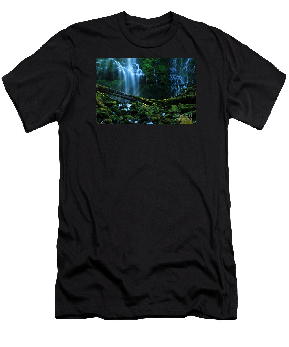 Proxy Falls Men's T-Shirt (Athletic Fit) featuring the photograph Proxy Falls Oregon by Bob Christopher