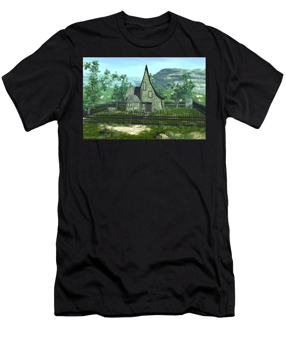 House Men's T-Shirt (Athletic Fit) featuring the digital art 3 Raven Court by Michael Wimer