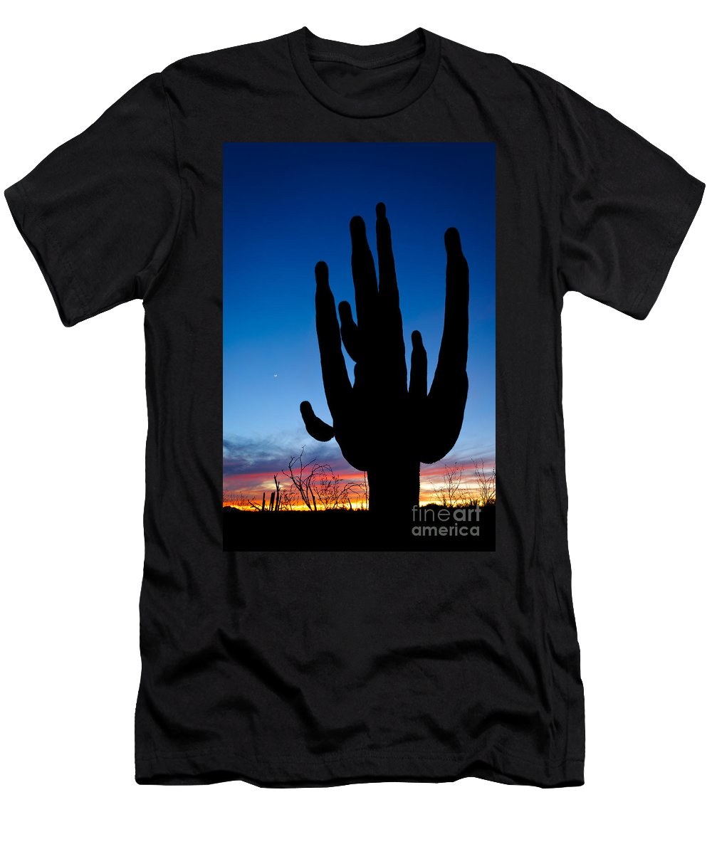Nature Men's T-Shirt (Athletic Fit) featuring the photograph Saguaro Silhouette by John Shaw