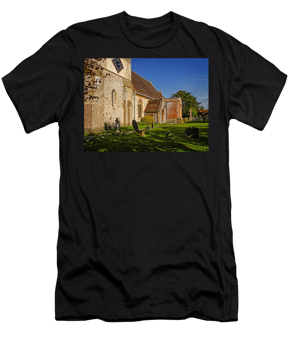 Berkshire Men's T-Shirt (Athletic Fit) featuring the photograph St Marys Church Kintbury by Mark Llewellyn