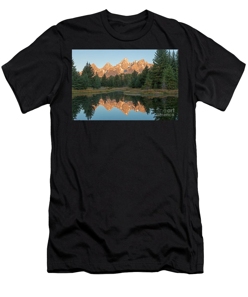 Autumn Men's T-Shirt (Athletic Fit) featuring the photograph The Grand Tetons Schwabacher Landing Grand Teton National Park by Fred Stearns