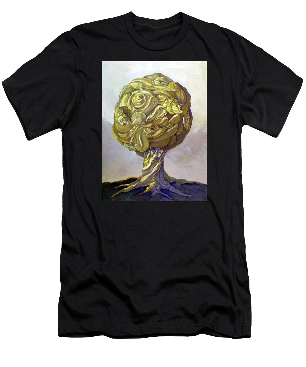 Tree Of Knowledge Men's T-Shirt (Athletic Fit) featuring the painting Tree Of Knowledge by Filip Mihail