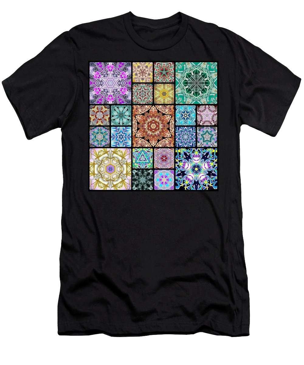 Sacredlife Mandalas Men's T-Shirt (Athletic Fit) featuring the digital art 3d Cosmic Sample Grid by Derek Gedney