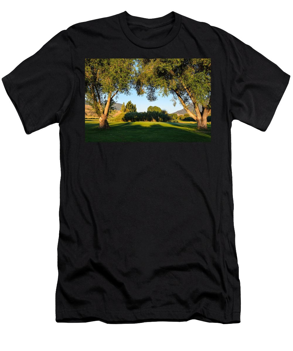 Water Men's T-Shirt (Athletic Fit) featuring the photograph 3rd Green At Quilchena by Randy Giesbrecht