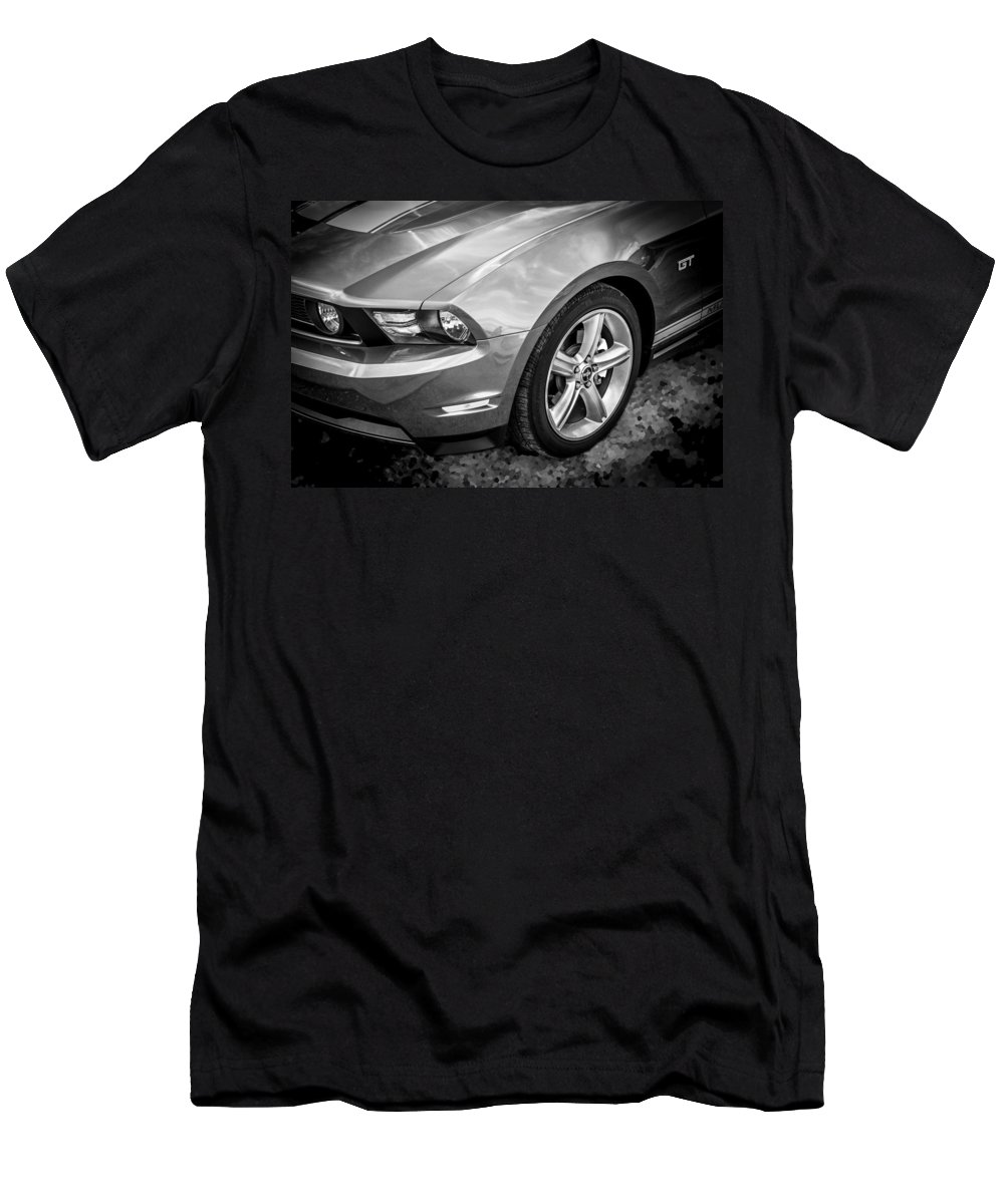 2010 Ford Mustang Men's T-Shirt (Athletic Fit) featuring the photograph 2010 Ford Mustang Convertible Bw by Rich Franco