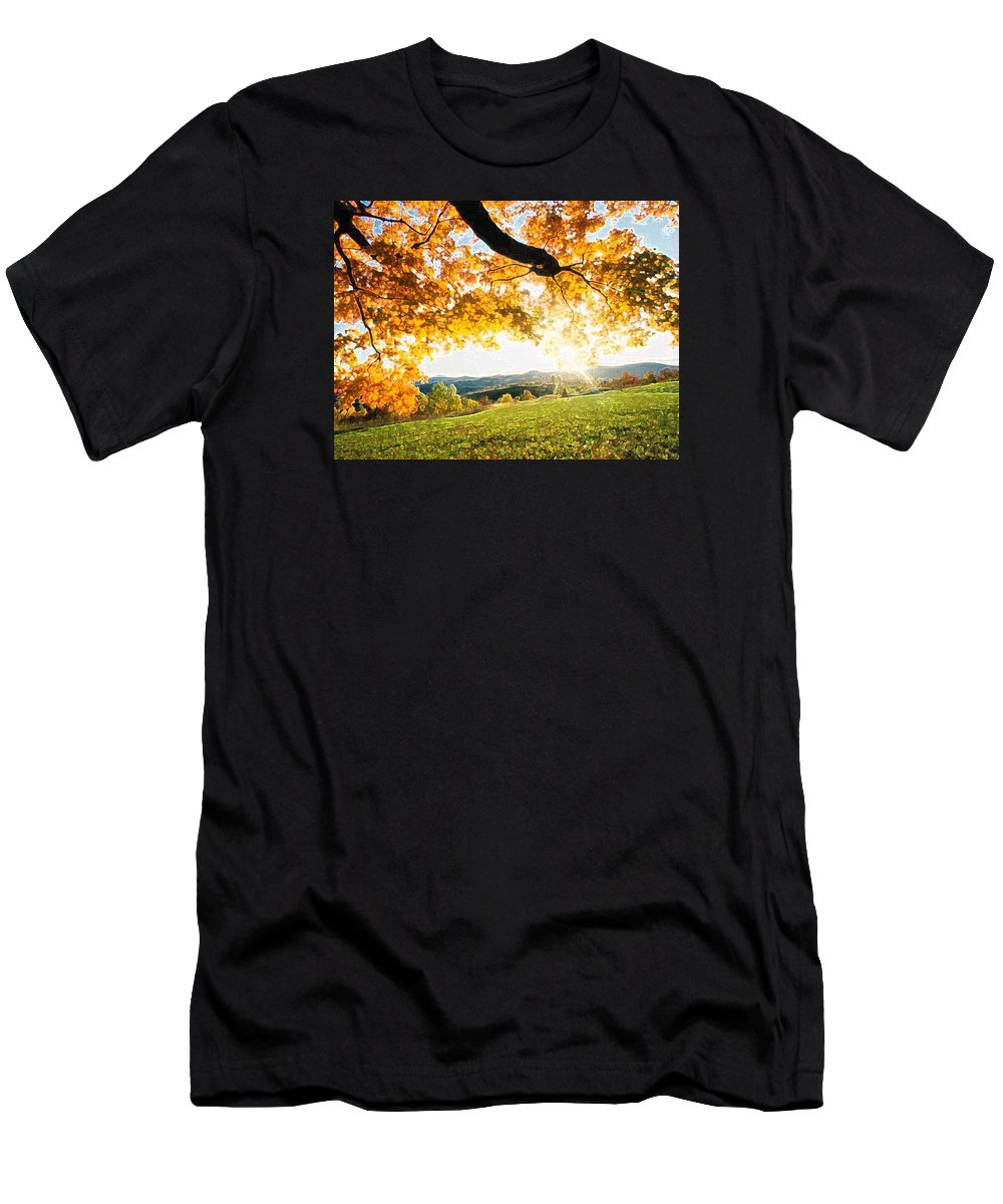 Irish Flowers Men's T-Shirt (Athletic Fit) featuring the photograph Abstract Summer Sunset. by Dave Byrne