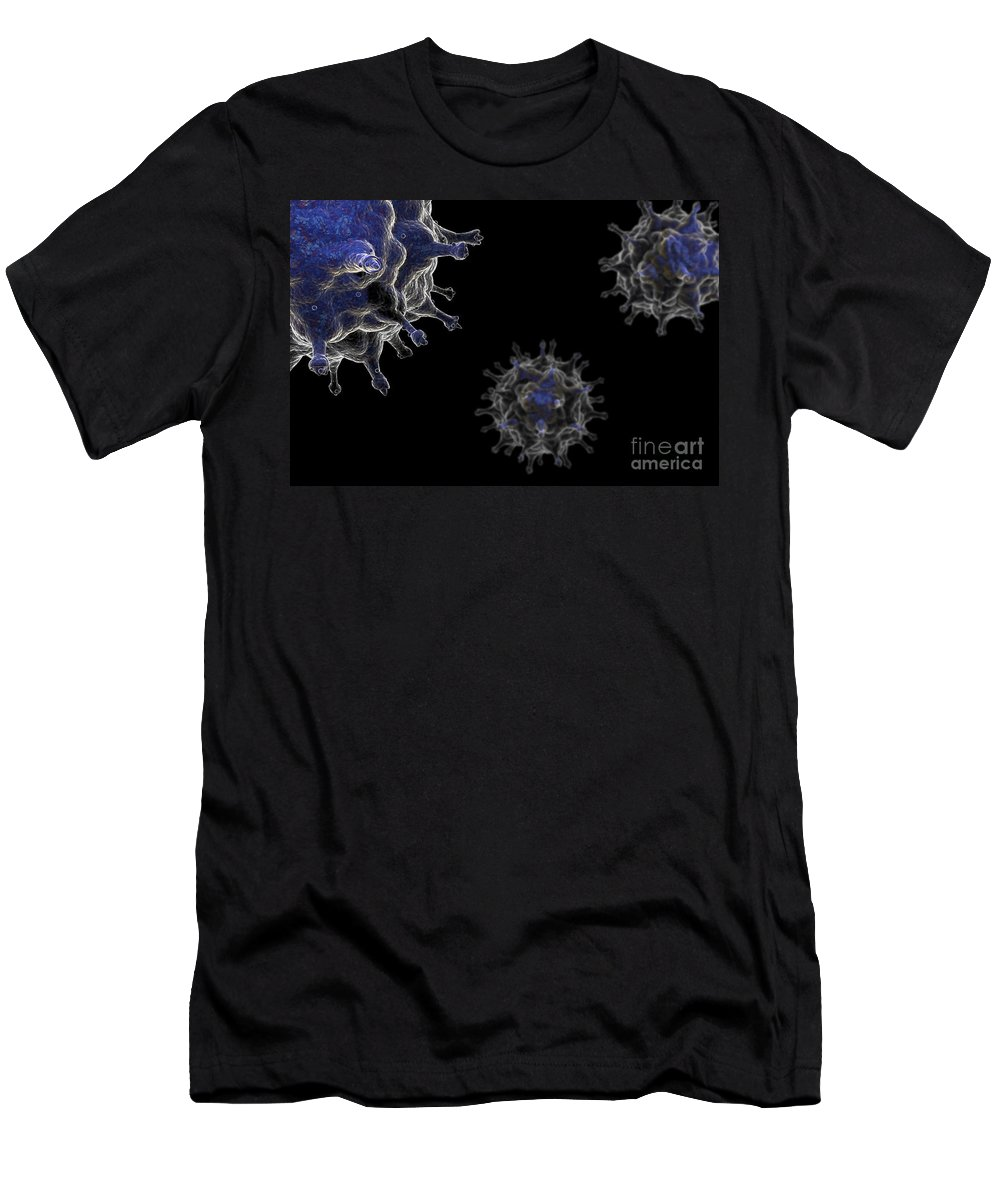 Horizontal Men's T-Shirt (Athletic Fit) featuring the photograph Avian Influenza Virus H5n1 by Science Picture Co