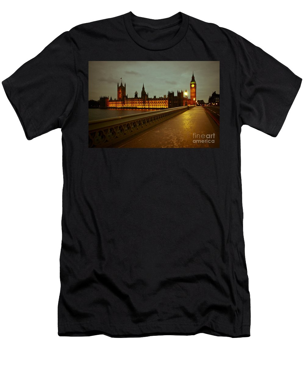 Big Ben Men's T-Shirt (Athletic Fit) featuring the photograph Big Ben And Houses Of Parliament by Lana Enderle