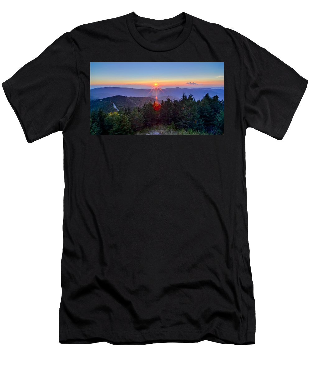 Mountains Men's T-Shirt (Athletic Fit) featuring the photograph Blue Ridge Parkway Autumn Sunset Over Appalachian Mountains by Alex Grichenko