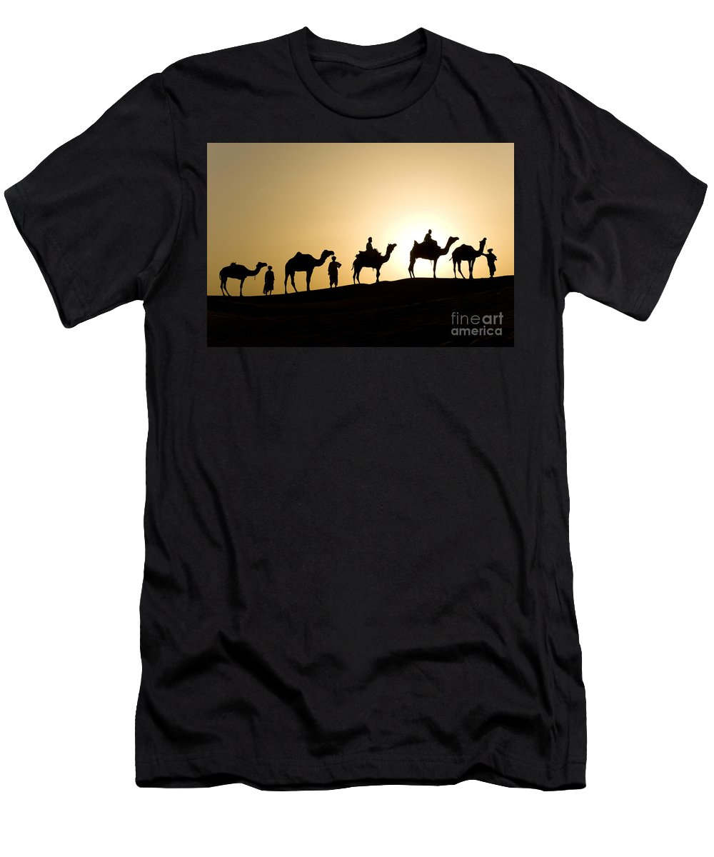 Asia Men's T-Shirt (Athletic Fit) featuring the photograph Camel Caravan, India by John Shaw