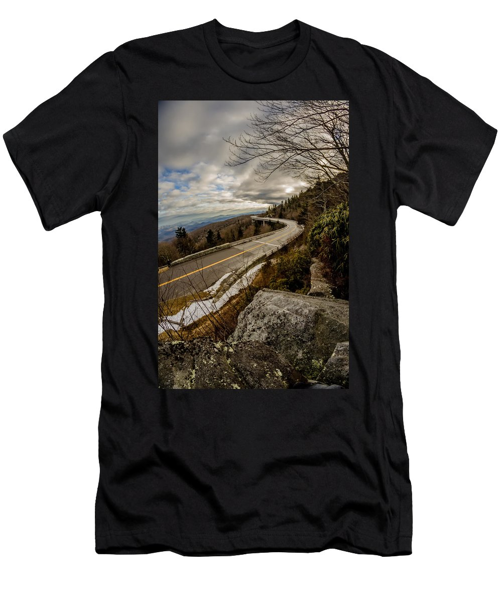 Road Men's T-Shirt (Athletic Fit) featuring the photograph Linn Cove Viaduct During Winter Near Blowing Rock Nc by Alex Grichenko
