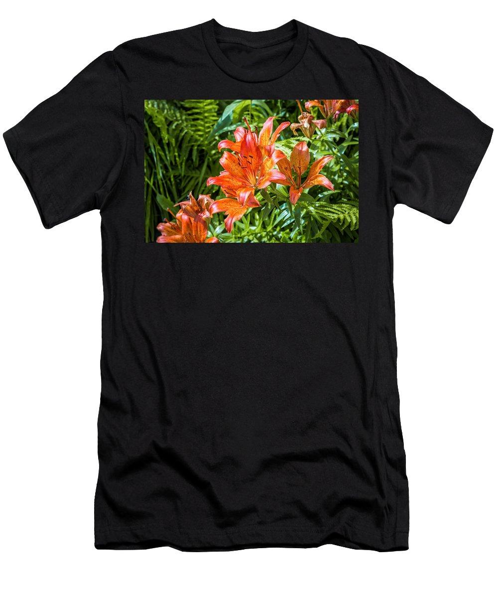 Background Men's T-Shirt (Athletic Fit) featuring the photograph Orange Lilium by Alain De Maximy