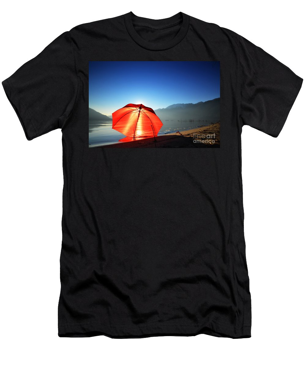 Red Umbrella Men's T-Shirt (Athletic Fit) featuring the photograph Red Umbrella by Mats Silvan