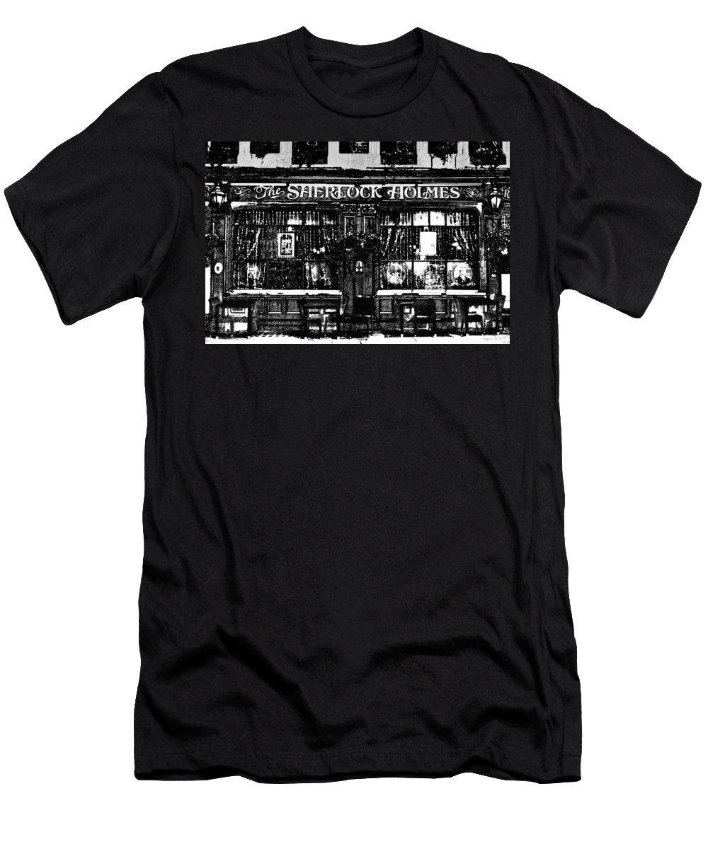 Sherlock Holmes Men's T-Shirt (Athletic Fit) featuring the digital art The Sherlock Holmes Pub by David Pyatt