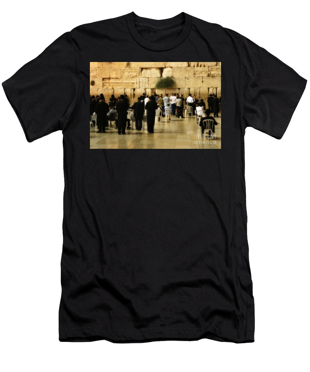 Hebrew Men's T-Shirt (Athletic Fit) featuring the photograph Praying At The Western Wall by Doc Braham