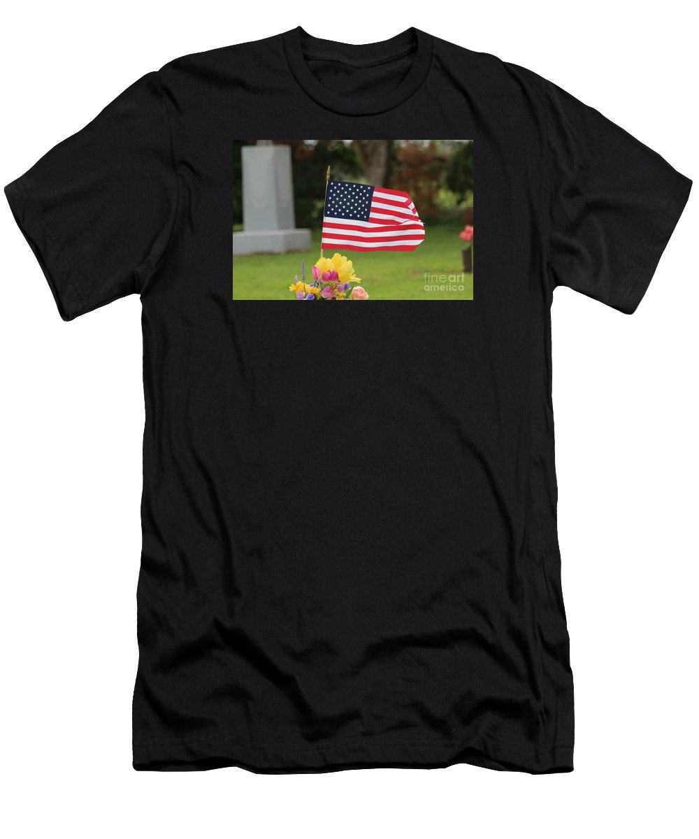 Flag Men's T-Shirt (Athletic Fit) featuring the photograph Us Flag On Memorial Day by Robert D Brozek