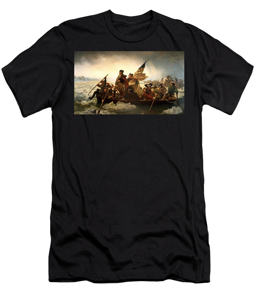 George Washington Men's T-Shirt (Athletic Fit) featuring the photograph Washington Crossing The Delaware by Emanuel Leutze