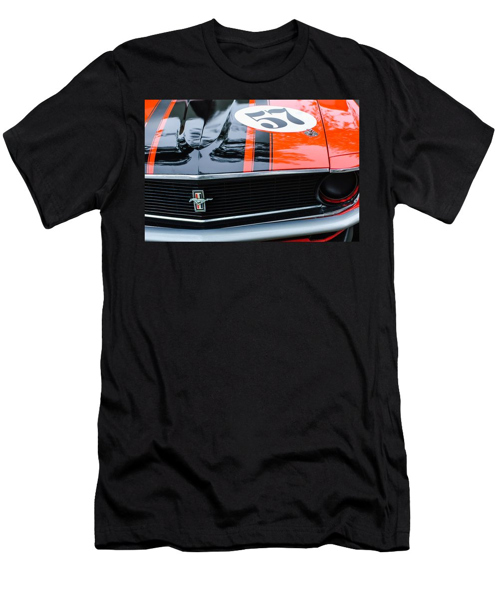 1970 Ford Mustang Boss 302 Grille Emblem Men's T-Shirt (Athletic Fit) featuring the photograph 1970 Ford Mustang Boss 302 Grille Emblem by Jill Reger