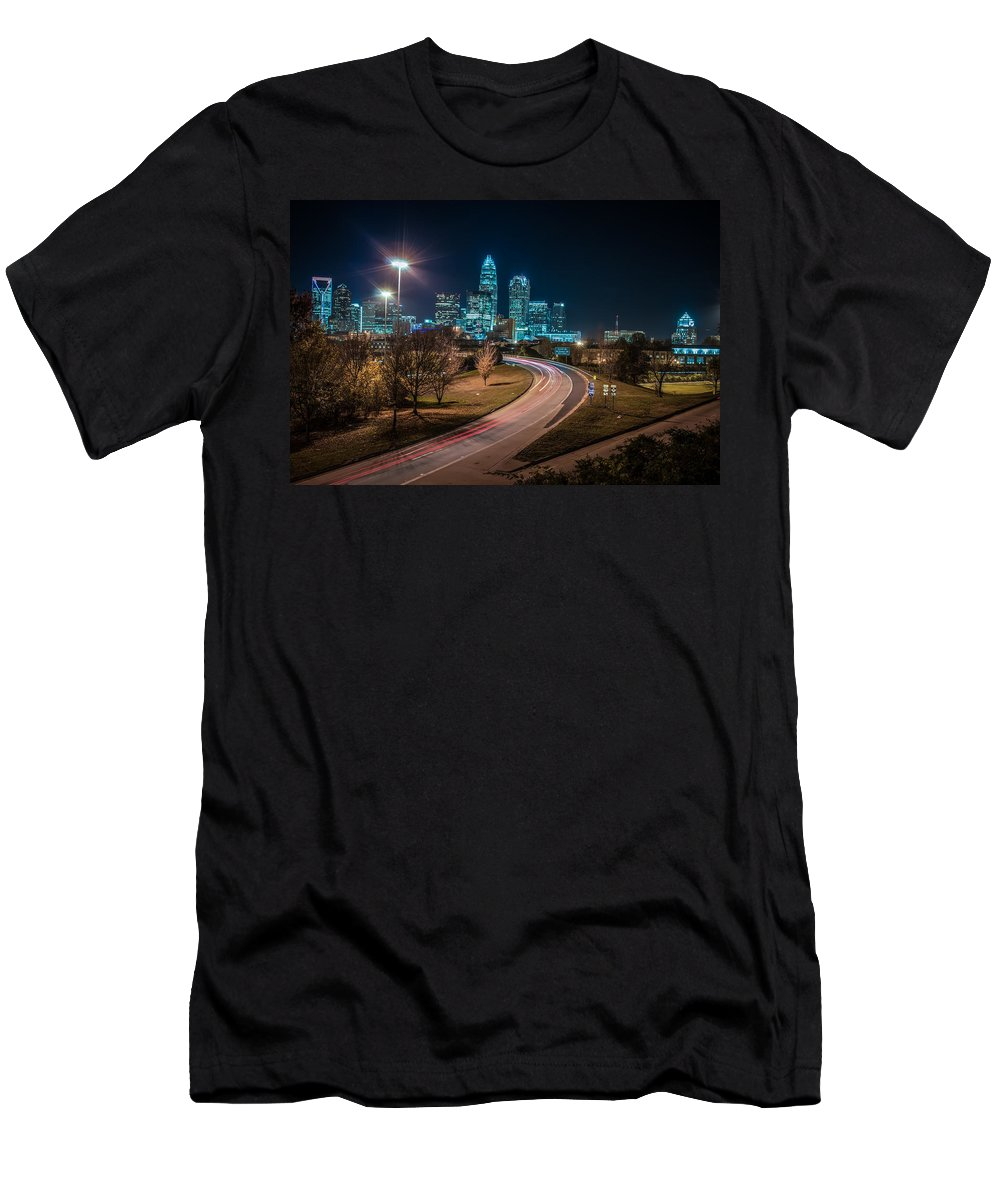 2012 Men's T-Shirt (Athletic Fit) featuring the photograph Charlotte City Skyline Night Scene by Alex Grichenko