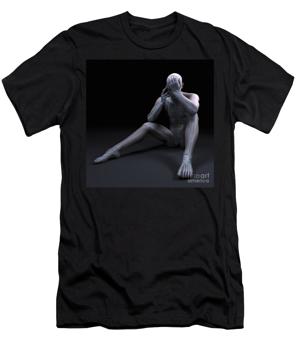 3d Visualization Men's T-Shirt (Athletic Fit) featuring the photograph Depression by Science Picture Co