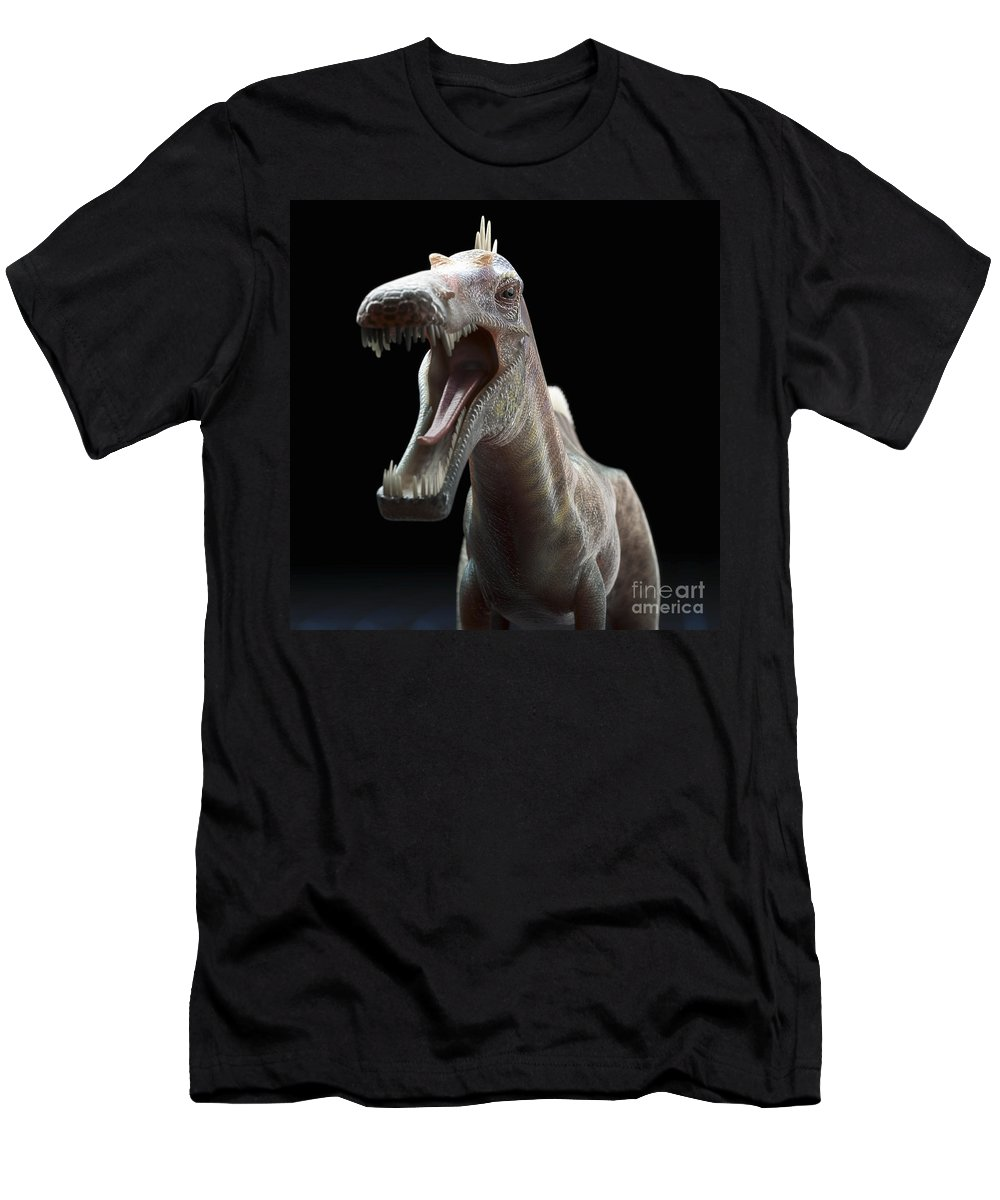 Extinction Men's T-Shirt (Athletic Fit) featuring the photograph Dinosaur Suchomimus by Science Picture Co