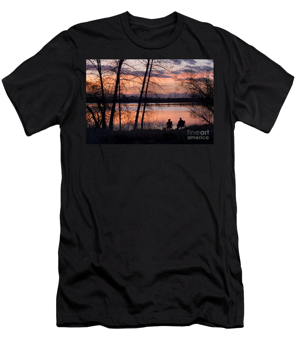 Colorado Men's T-Shirt (Athletic Fit) featuring the photograph Fly Fishing At Sunset by Steve Krull