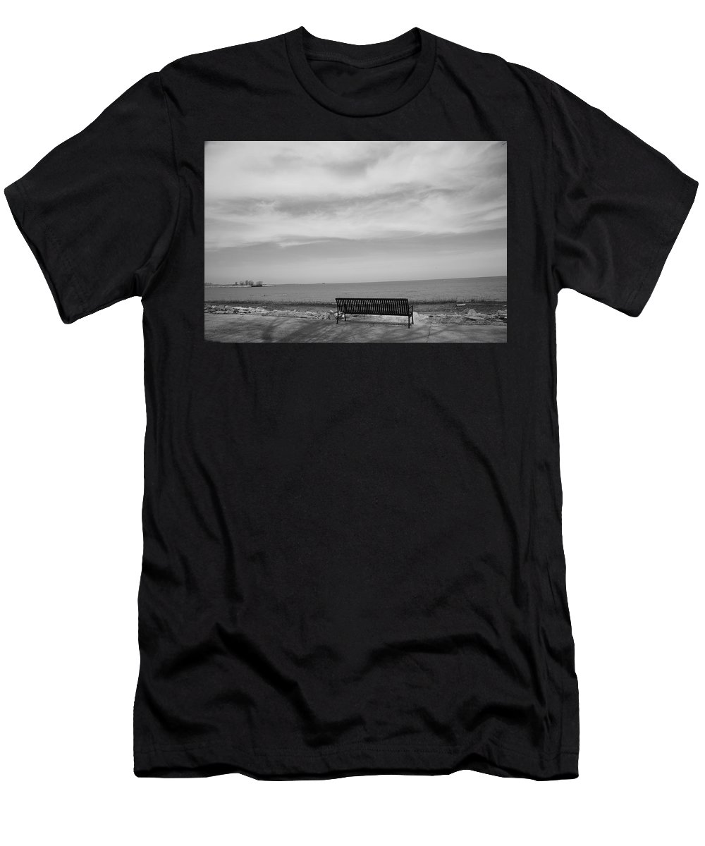 Art Men's T-Shirt (Athletic Fit) featuring the photograph Lake And Park Bench by Frank Romeo