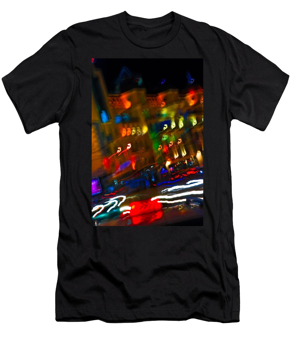 Kiev Men's T-Shirt (Athletic Fit) featuring the photograph Moving Fast In The Town At Night by Alain De Maximy