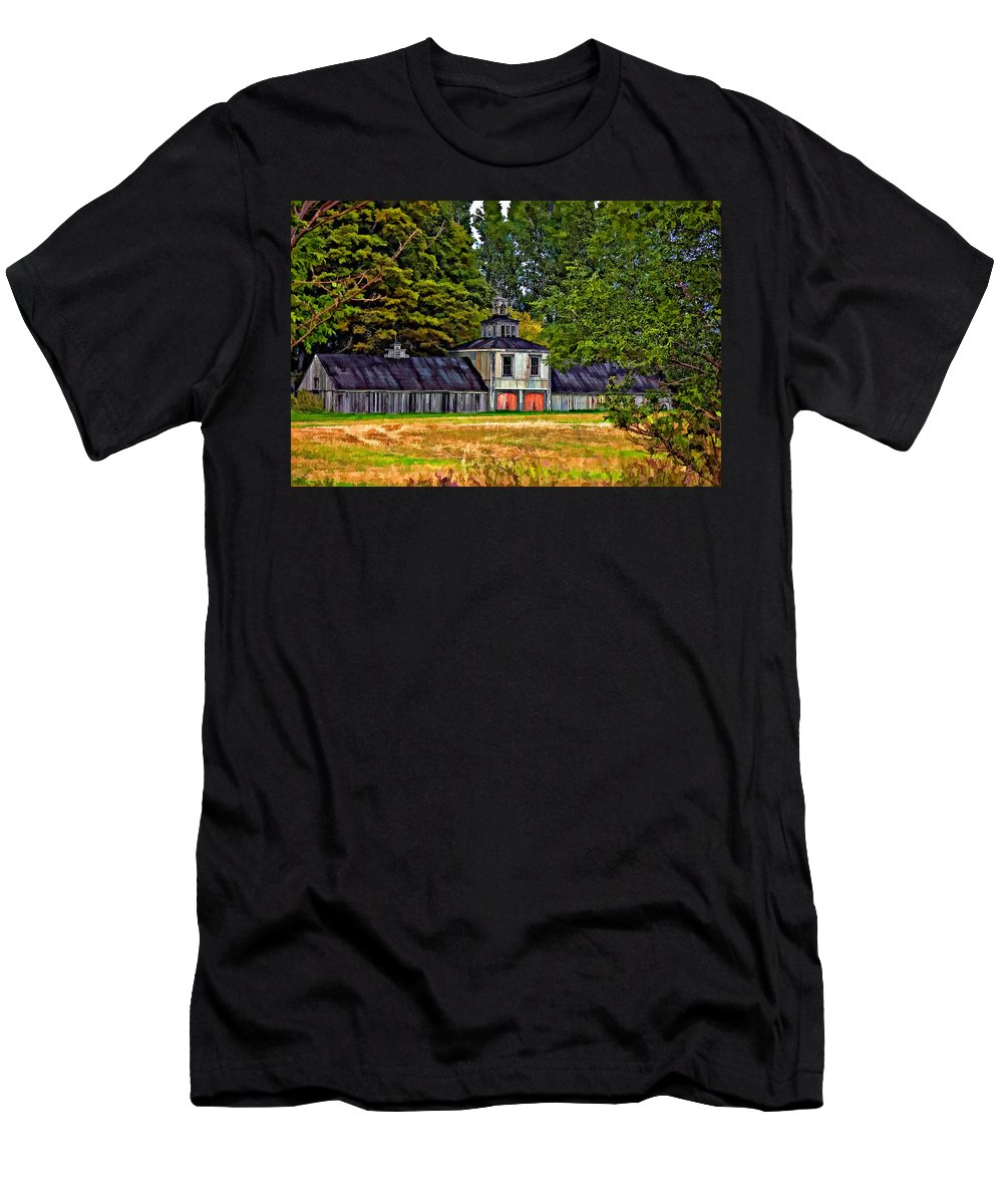 Barn Men's T-Shirt (Athletic Fit) featuring the photograph 5 Star Barn Paint Filter by Steve Harrington