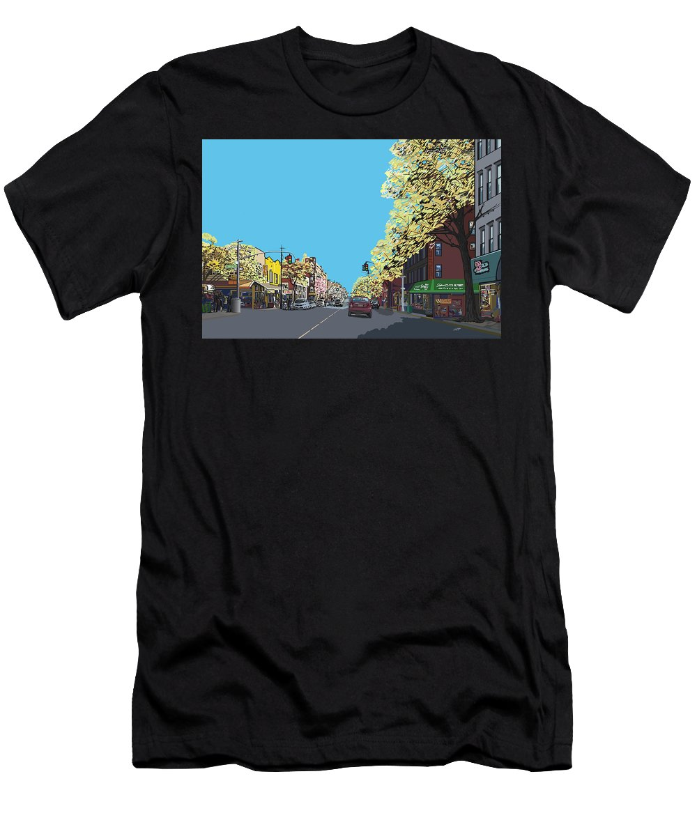Landscape Men's T-Shirt (Athletic Fit) featuring the digital art 5th Ave And Garfield Park Slope Brooklyn by James Mingo